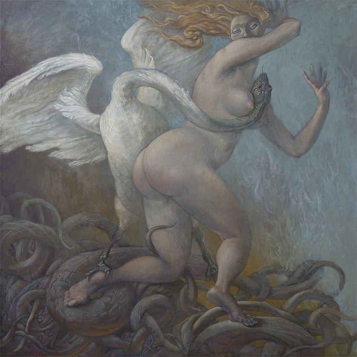 Platonic Snake cheating Ledoux acquiring shape swan Oil, canvas  116x116 сm