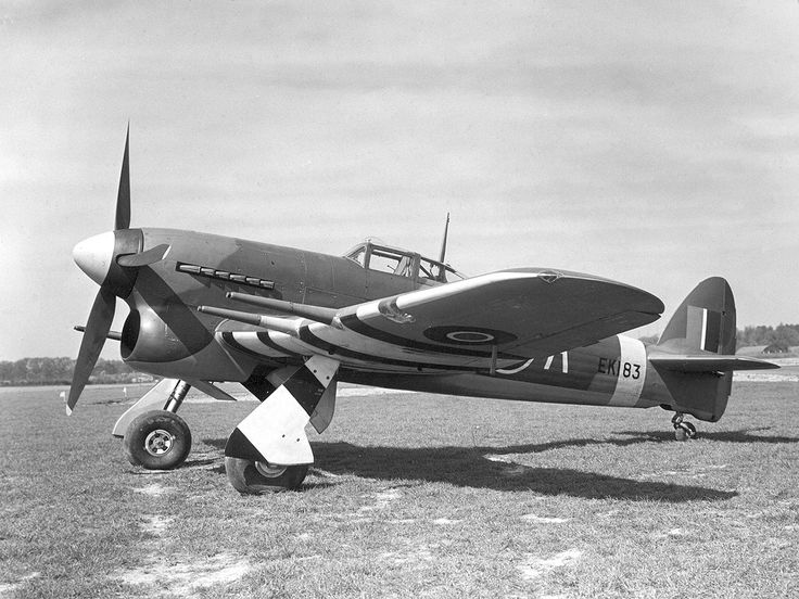"A Royal Air Force Hawker Typhoon Mk.IB (EK183, ""US-A"") of No. 56 Squadron RAF at RAF Matlaske, Norfolk (UK), on 21 April 1943. This aircraft was flown by Squadron Leader T.H.V Pheloung (Oamaru, New Zealand)."