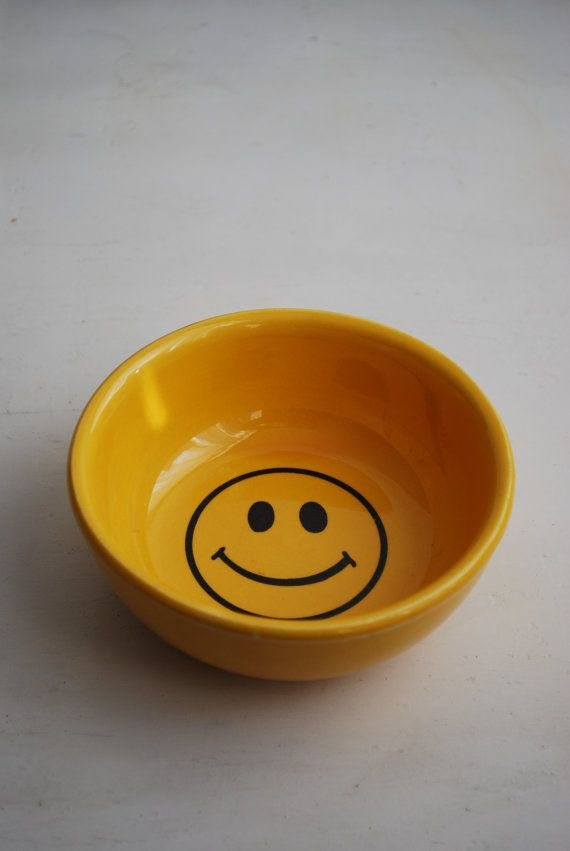 McCoy Yellow Smiley Face Bowl  1970s Rare by hunterdear on Etsy, $50.00