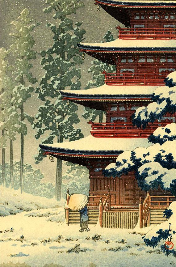 Japanese winter snow art prints, posters, paintings ...