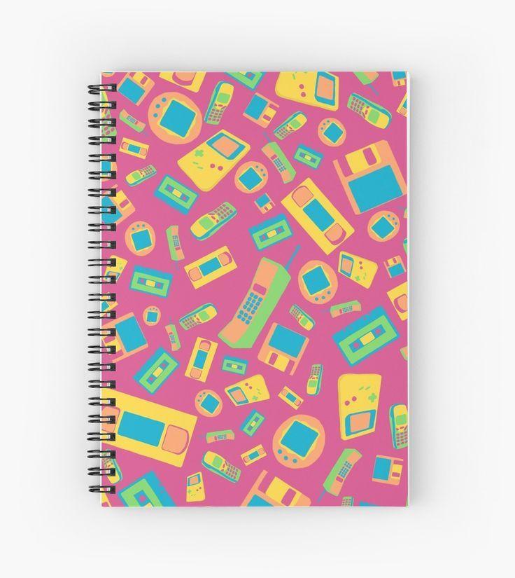"""90s Technology Pattern"" Spiral Notebooks by ShiyaDigital"