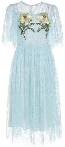 Floral Embroidered Lace Dress-White