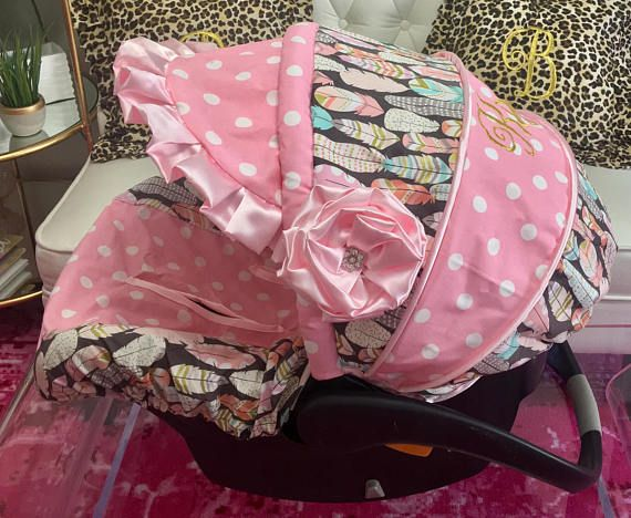 Custom Car Seat Covers, 4 Pc Set for Car Seat, Feathers Car Seat Cover, Baby Car Seat Covers, Pink Dot Car Seat Cover Custom Baby Car Seat Cover 4 Pc Set. CAR SEAT CANOPY WITH VISOR (no flower) CAR SEAT BODY, AND 2 NECK STRAP COVERS Why is this custom replacement cover so much