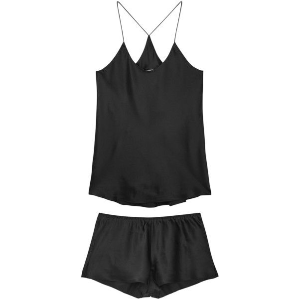 Olivia von Halle Bella black silk pyjama set ($240) ❤ liked on Polyvore featuring intimates, sleepwear, pajamas, silk pajama set, silk sleepwear, silk sleep wear, silk pajamas and silk pyjamas