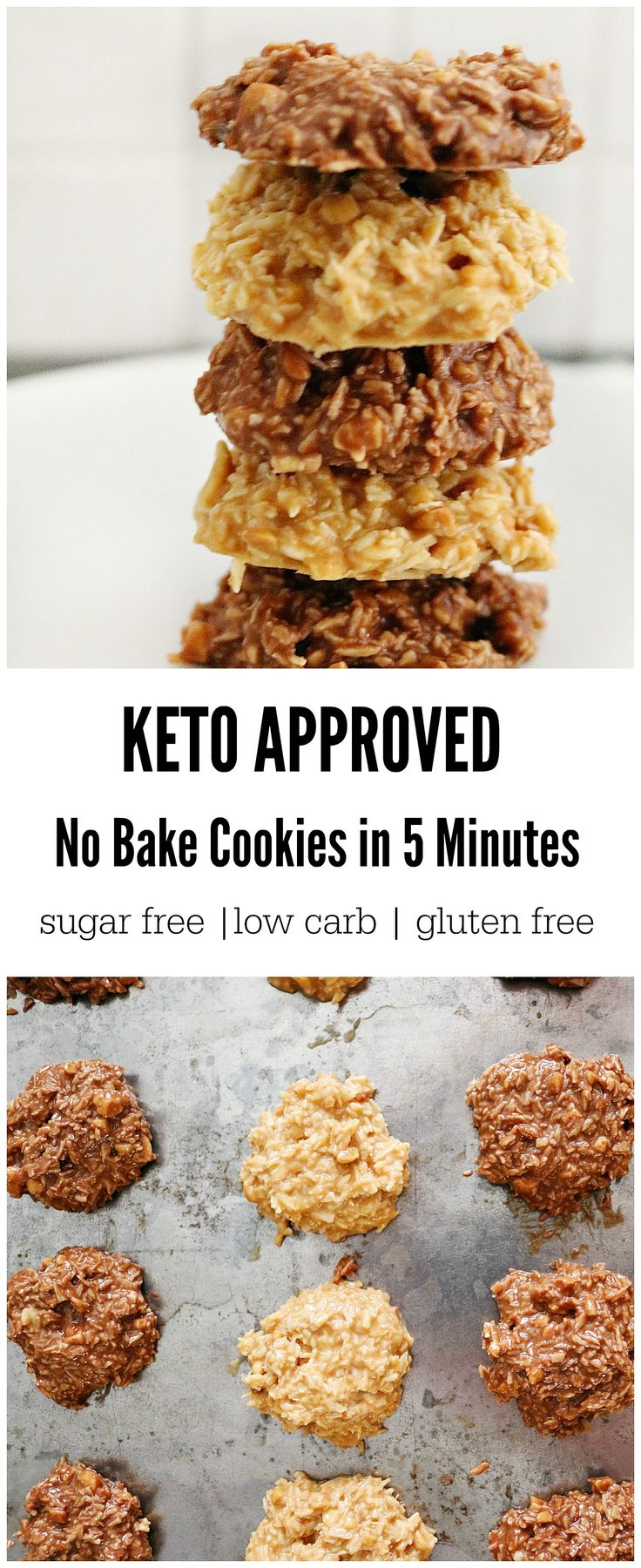 keto no bake cookies - crunchy peanut butter, coconut flakes, liquid stevia (cocoa, optional)