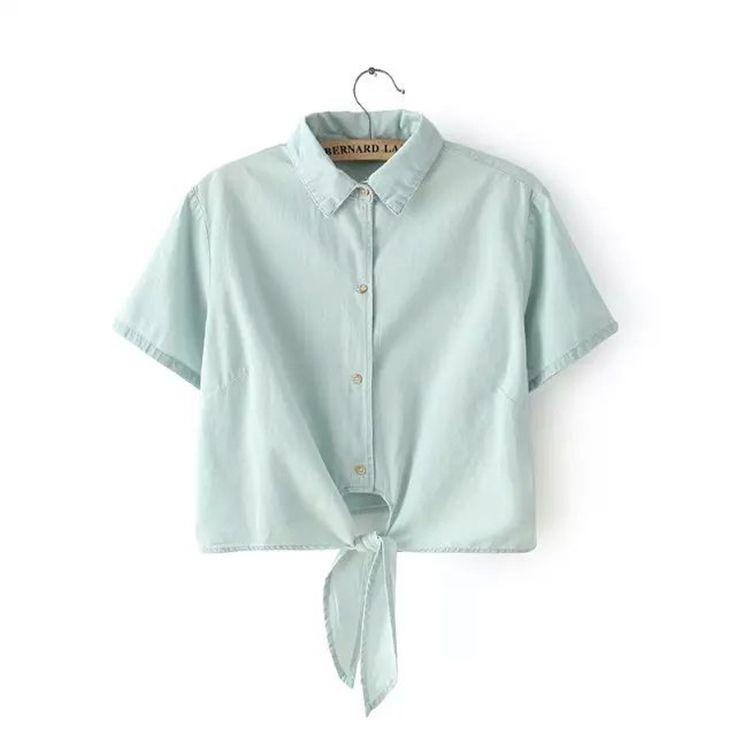 Novas Mulheres Fino Denim Camisa Jeans Da Moda Estilo Curto Lapela Arco Feminino Blusas C2438 em Blusas & Camisas de Das mulheres Roupas & Acessórios no AliExpress.com | Alibaba Group