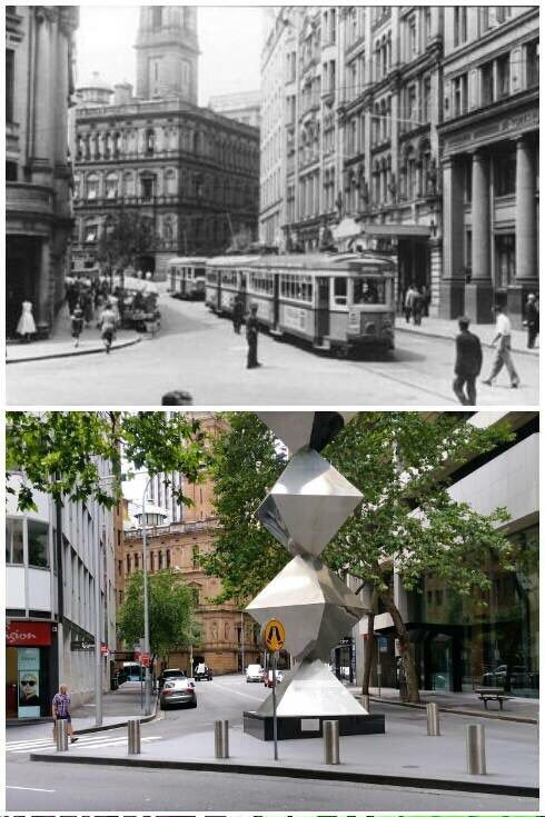 Spring St looking NE to Gresham St & Lands Dept building from Pitt St 1954 & 2016 [1954-City of Sydney Archives>2016-Allan Hawley. By Allan Hawley]