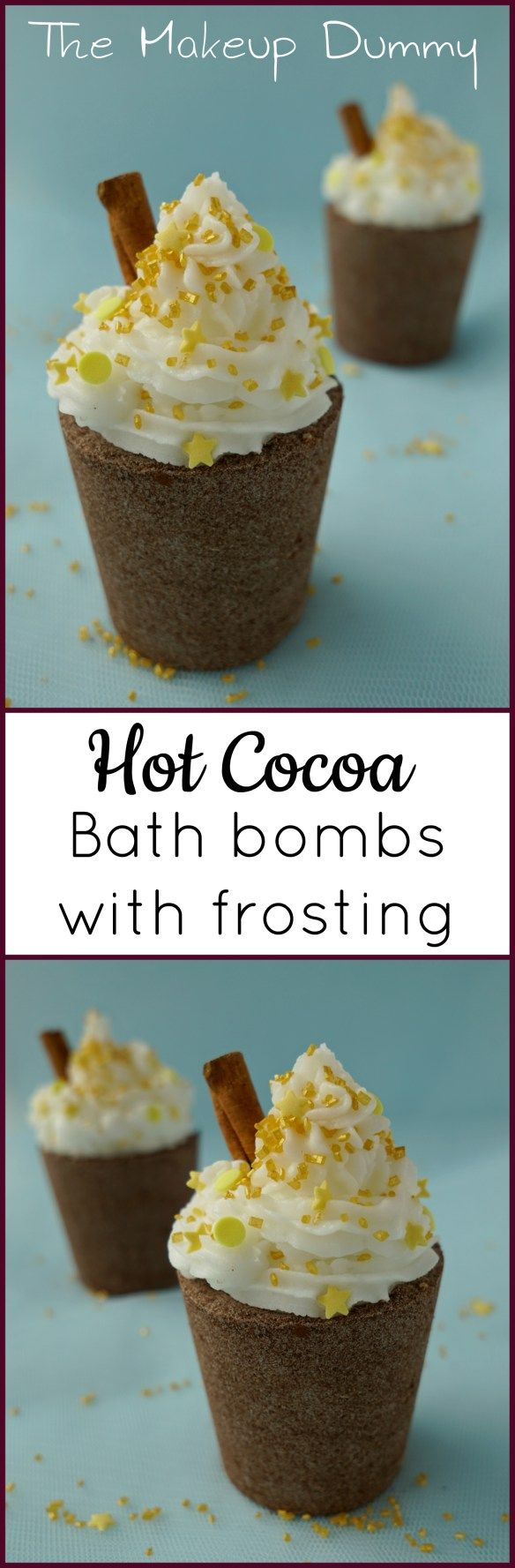 This is such a cute gift idea! How to make Hot cocoa bath bombs with frosting (no meringue powder, no soap base and without slsa!). Easy last minute Christmas Gift Idea! DIY Tutorial by The Makeup Dummy #diybeauty #naturalbeauty #giftidea #christmas #lush