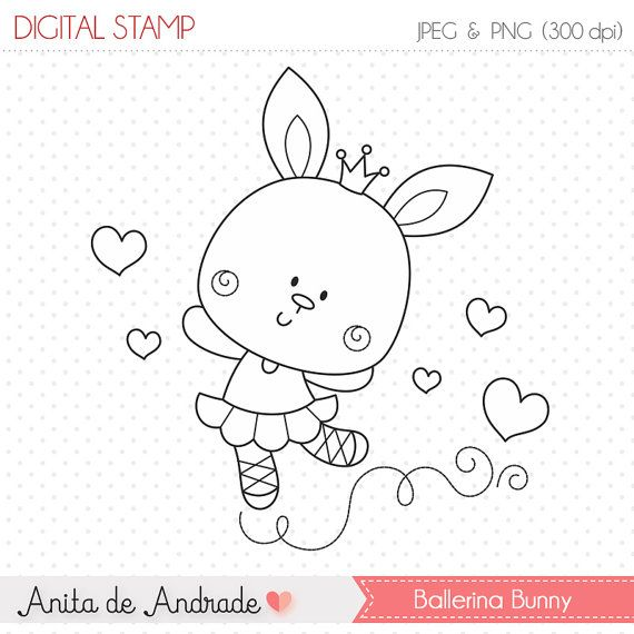 50% OFF Sweet Ballerina Bunny Stamp - personal and commercial use, line art, graphics, digital clip art, digital images - S008