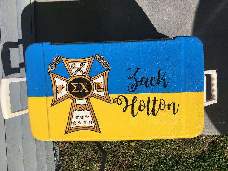 Sigma chi painted fraternity formal cooler