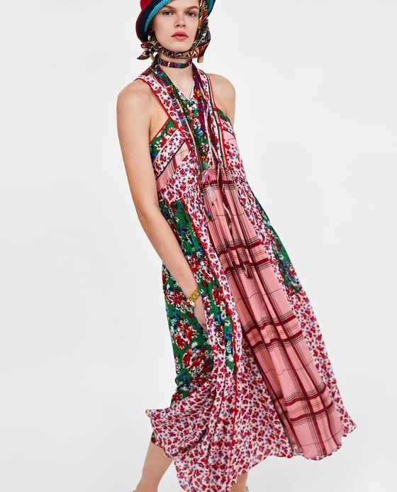 64ef1bc1 DRESS WITH CONTRASTING PATCHWORK New Outfits, Zara, Spring Summer 2018,  Spring Fashion,