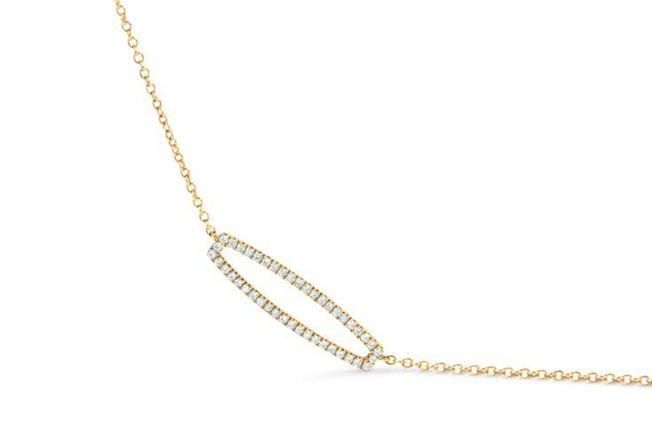 18 ct rose gold pavé set diamond necklace