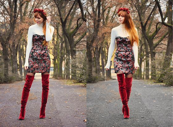 Get this look: http://lb.nu/look/8557243  More looks by Malin Rouge: http://lb.nu/malin_rouge  Items in this look:  Zara Bustier Dress, Zara Red Velvet Overknee Boots   #chic #elegant #romantic #berlin #sparkandbark #blogger #fashionblogger #german #germany