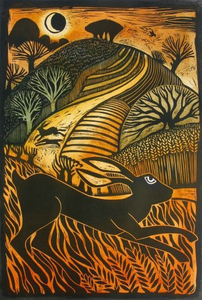 Leaping Hare by Ian MacCulloch - woodcut