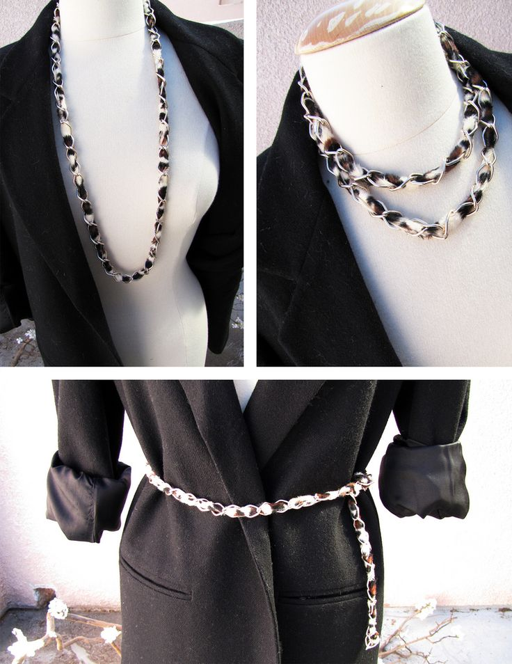 Brilliant.  Fabric woven through simple chain - elegant look for cheap: Leopard Belts, Diy'S, Accessories Diy, Chain Necklaces, Chains, Leopards, Fabric, Chain Necklace Belt