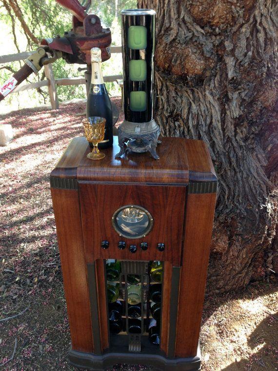 ****SOLD****Antique Radio Wine Liquor Bar LED Showcase 1940's by Illumetery, $650.00