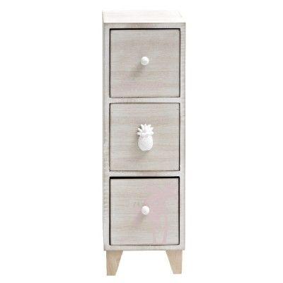 Boîte range bureau grise avec 3 tiroirs  design Sweet exotic.<br>Dim. 12x11,5x36 cm, mdf (panneau de fibres de bois).