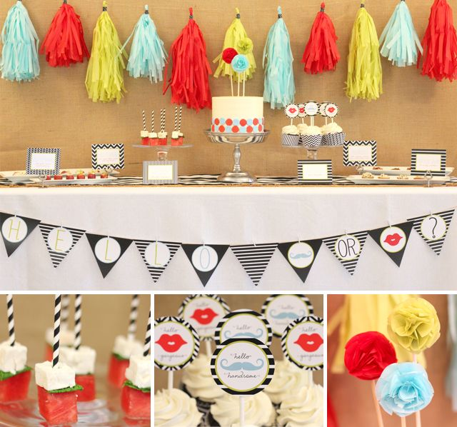 Handsome Fella or Gorgeous Lil' Lady? A gender reveal party that isn't pink & blue! Love the color choice