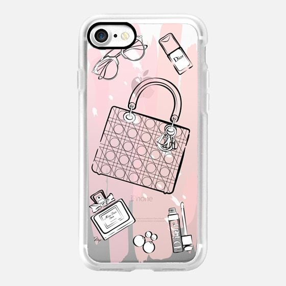 pink dior flatlay acceessories fashion illustration mobile phone cover case