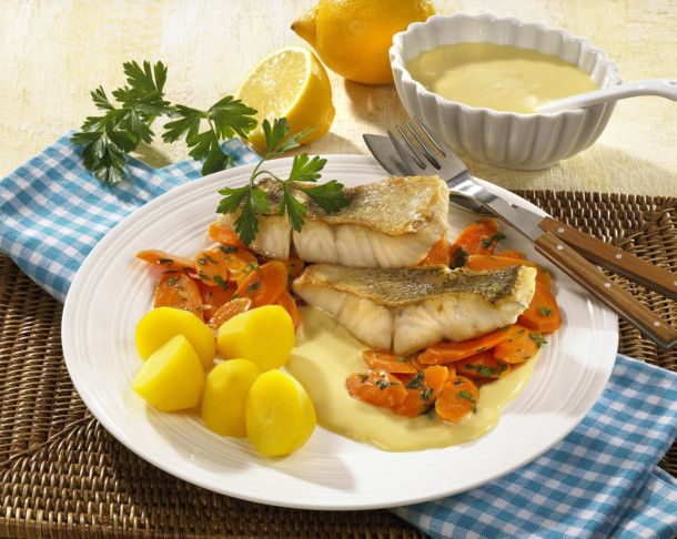 Photo of Zander fillet with parsley carrots and mustard sauce