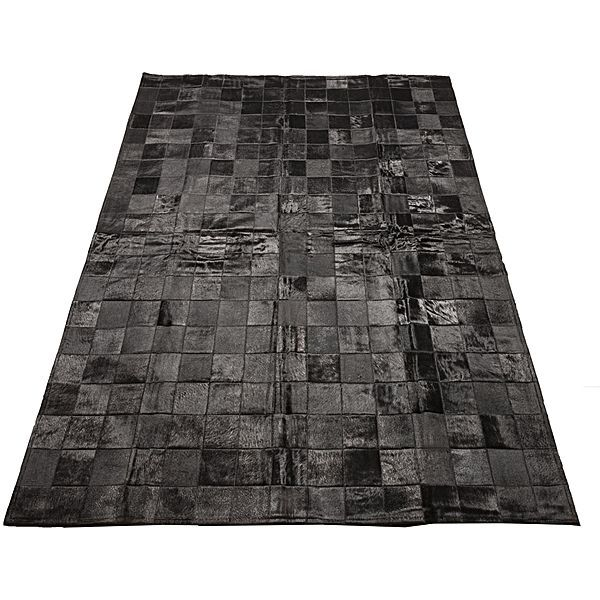 Rembrandt Patchwork Animal Hide Rug, Black