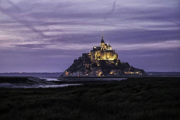 Night falls over Mt. Saint Michel