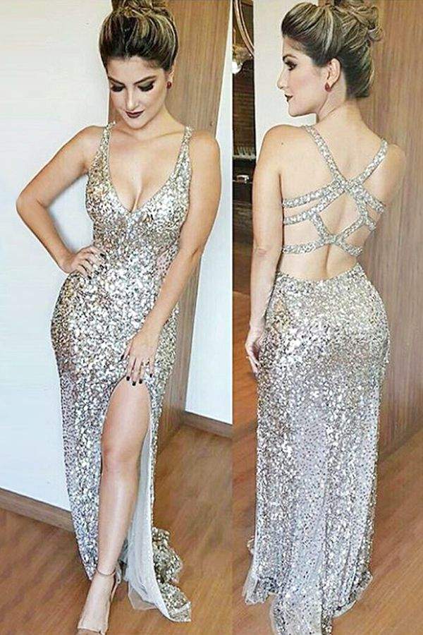 prom dresses 2017, cheap party dresses with sliver sequined, sparle evening gowns, fancy prom dresses
