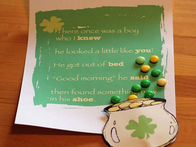 st. patrick's day rhyme and treasure hunt - fun for leprechaun to leave it with trail