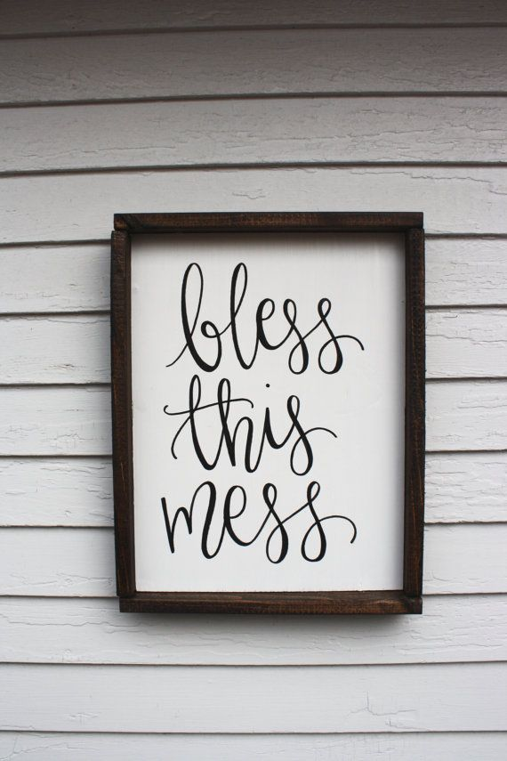 Bless this Mess Wood Sign Custom Wood Sign Rustic