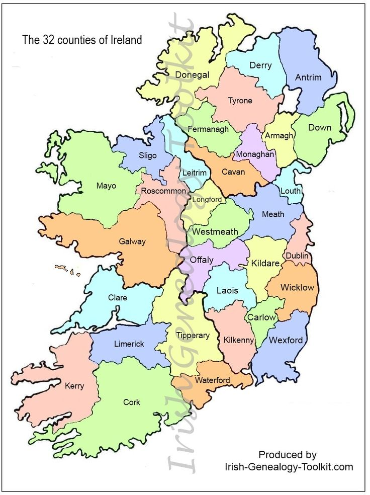 map of Counties in Ireland | This county map of Ireland shows all