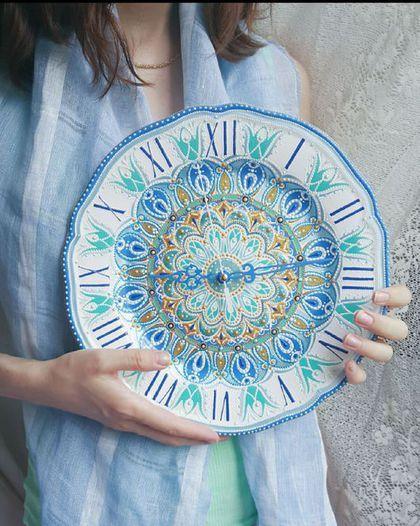 """Ceramic wall clock / Часы для дома ручной работы. Ярмарка Мастеров - ручная работа. Купить Керамические настенные часы """"Сияние"""". Handmade. Часы настенные"""