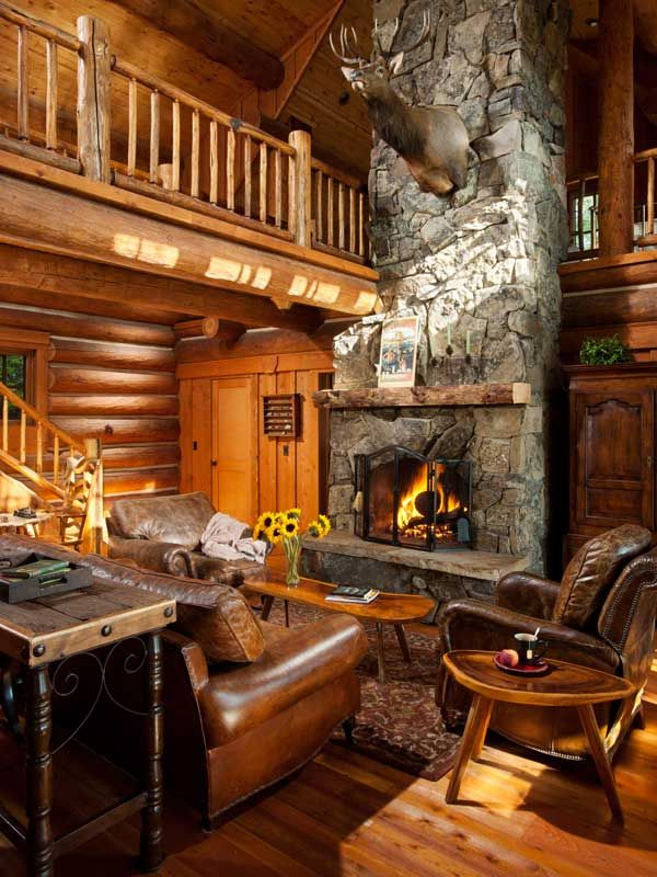 22 best living room images on pinterest fire places for Log home fireplaces