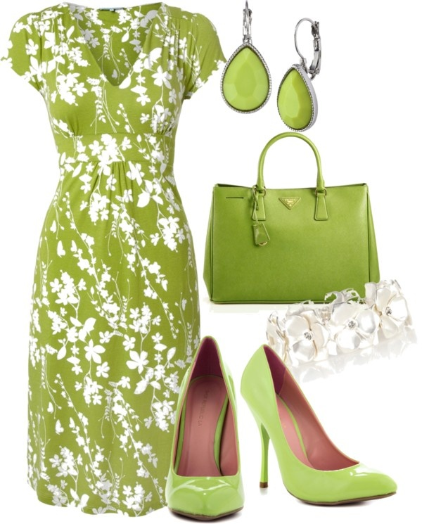 Spring green with white highlights and matching accessories