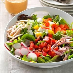 Garden-Fresh Chef Salad Recipe -For a lot of the year, I can use my garden's produce when I make this cool salad. In spring, it's salad mix and radishes, and in summer, we have tomatoes, cabbage and carrots. What a good feeling! —Evelyn Gubernath, Bucyrus, Ohio