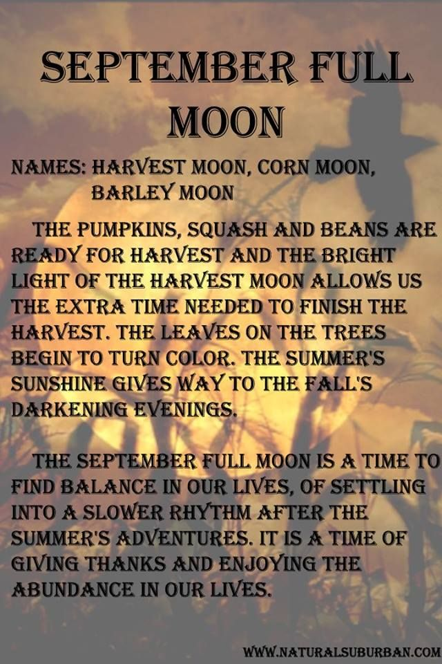 September full moon meaning and names.
