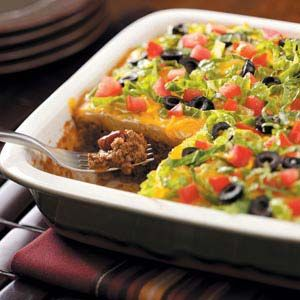 Southwestern Taco Casserole Recipe -When you're bored with traditional tacos, give this filling main dish a try. It puts the same Southwestern taste into a comforting casserole. —Bonnie King, Lansing, Michigan