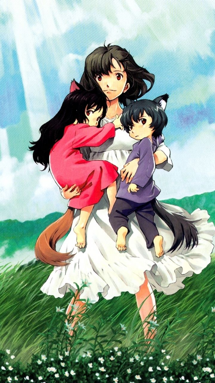 720x1280 Wallpaper wolf children ame and yuki, anime, girl, children, grass