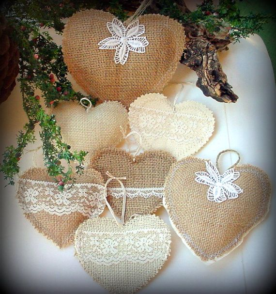 Burlap & Lace Christmas Heart Ornaments. by TheSunParlor on Etsy, $42.00 Rustic Country Chic and Shabby Weddings Valentine Pretty!