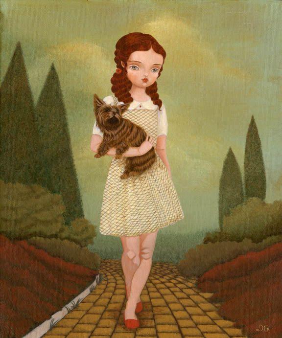 Children's Art, Girls Room Art, Girl Art Print, Poster, Fairytale Art, Decor, Cute, Kids Art - Wizard Of Oz - Dorothy & Toto 8x10 Print. $10.00, via Etsy.