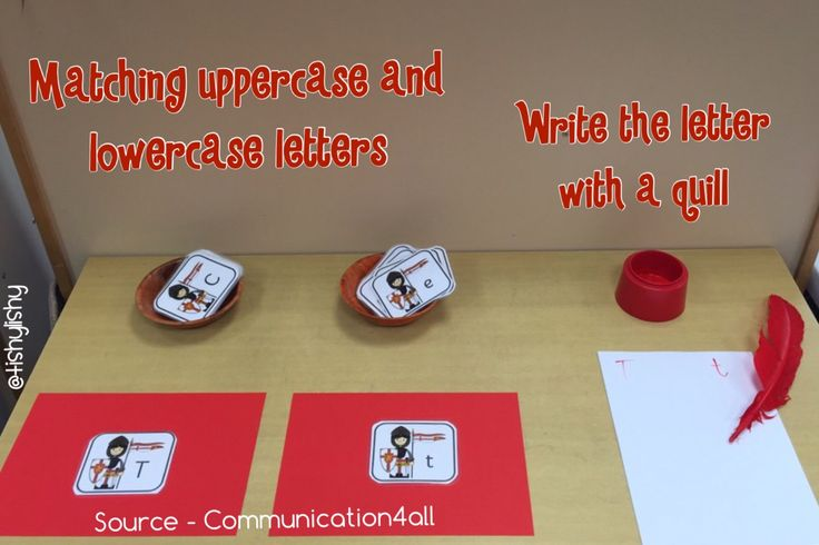Matching upper and lowercase letters. Writing with a quill.