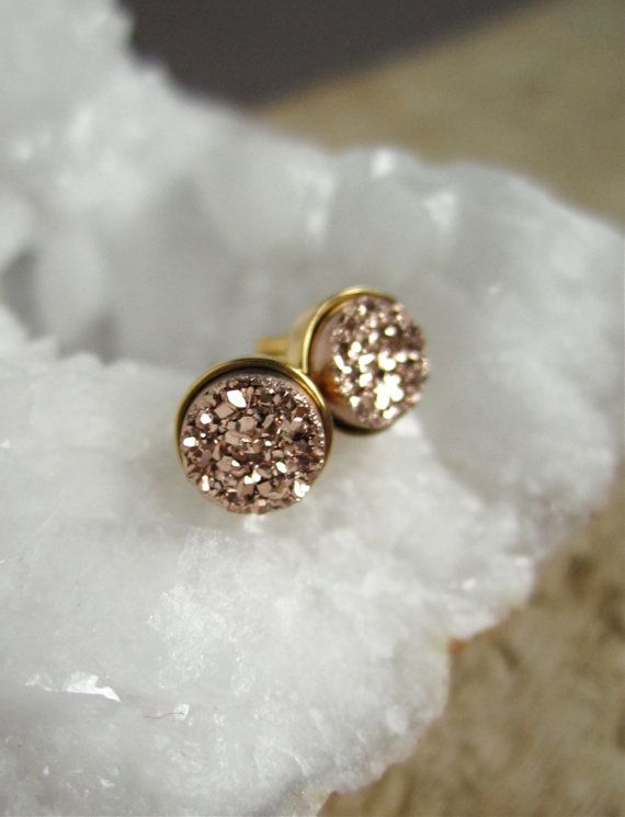 Rose gold earrings.
