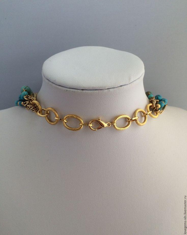Купить Ожерелье бирюзовое МЕЧТЫ О ЛЕТЕ - бирюзовое колье, натуральные камни, бирюза, говлит