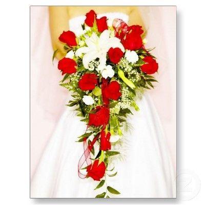 Red Rose Bridal Bouquet Postcard   Zazzle.com – Flowers beds