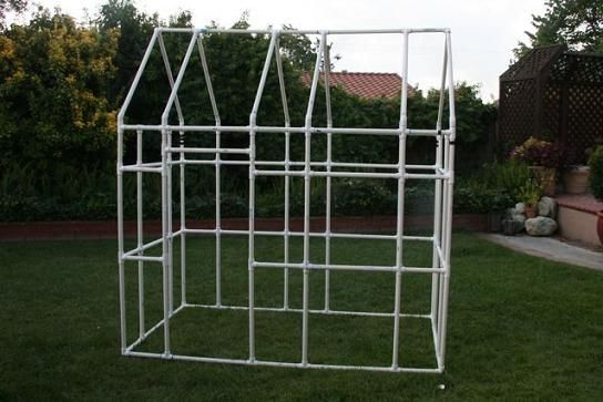 Free PVC playhouse pictures and plans--ok,this tutorial is for a playhouse which gets covered with a fabric tent, but....I was thinking why not cover with plastic and make a greenhouse?  I have seen clips made from pvc pieces that are sawed part way through that you use to clip over the plastic onto the pvc pipe frame. What do you think?