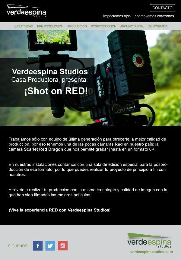 ¡Vive la experiencia de filmar en RED...!  #casaproductora #cine #television #camaras #tecnologia #RedDragon #shotonred