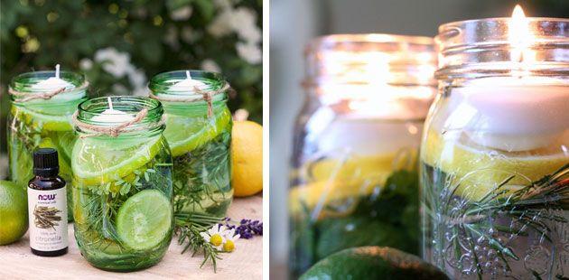 Vul een bokaal met water, limoen- en citroenschijfjes, munt, rozemarijn en citronella-olie en werk af met een drijfkaarsje.