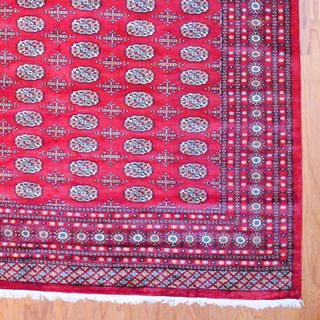 Pakistani Hand-knotted Red/ Ivory Bokhara Wool Rug (9' x 12') | Overstock.com Shopping - Great Deals on 7x9 - 10x14 Rugs