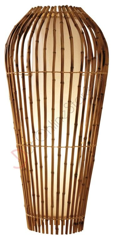 Floor lamp in ethnic style made of rattan. Sizes H. 90 x L. 50 x P. 50 cm