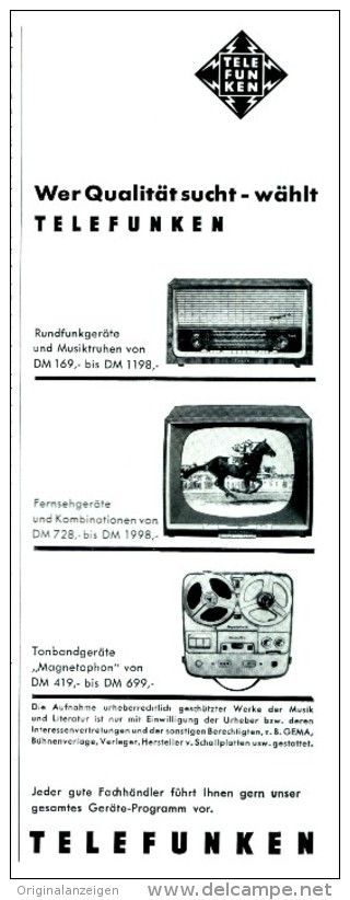 Original-Werbung/Anzeige 1959 - TELEFUNKEN RUNDFUNKGERÄTE / FERNSEHGERÄTE / TONBANDGERÄTE - ca. 75 x 220 mm