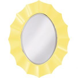 """Oval wall mirror with a rippled frame finished in yellow lacquer.   Product: Wall mirrorConstruction Material: Resin and mirrored glassColor: YellowFeatures: Rippling wave designDimensions: 40"""" H x 32"""" W"""